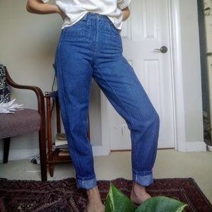 Lizwear striped high-waisted jeans